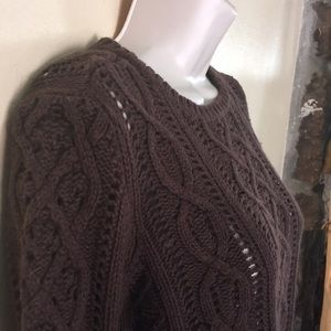 Michael Kors Chocolate Brown Cable Knit Sweater M